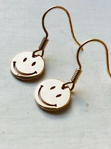 COOL RAVE SMILEY Earrings Rose Gold Plated New Retro Fun Size 1 cm Diameter