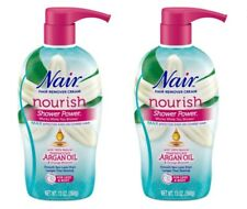 Pack of 2! Nair Shower Power ~ Nourish Argan Oil Hair Remover 13oz w/Scrubber