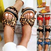 Ladies Summer Bow Flatform Mule Sandals Slip On Sliders Comfy Shoes UK Sizes