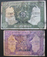 New listing 1942 Lot of 2 French Indochina Notes 50 Cents & 20 Cents