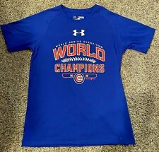 Boys Under Armour Loose CHICAGO CUBS T-Shirt--YOUTH MEDIUM--WORLD SERIES CHAMPS