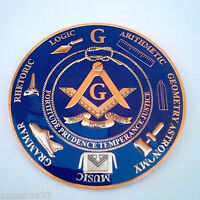 Freemasonry Blue Lodge Masonic Love For Arts Auto Emblem Golden Finish 011