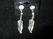 Dangle Statement Earrings Silver Tone Stud Feathers Turquoise Tribal Fashion