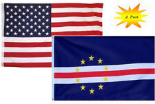 3x5 3'x5' Wholesale Set (2 Pack) USA American & Cape Verde Country Flag Banner