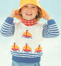 "NAUTICA STRIPE BARCA YACHT baby sweater 18 "" - 24"" DK-knitting pattern"