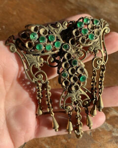 Rare Antique 1920s, Czech, Huge Green Paste Costume Brooch Pin for Restoration.