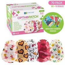Kids Adhesive Eye Patches Fun Girls Design 60 + 10 Bandages Reward Chart