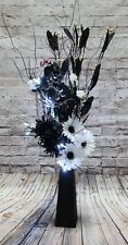 White & Black Artificial flowers wood vase & lights conservatory, wedding, gift