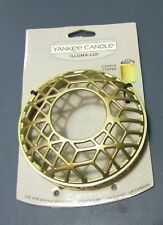 YANKEE CANDLE BRASS GOLD COLORED BANDS ILLUMA-LID JAR CANDLE TOPPER NWT