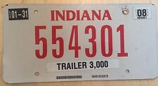 """2008 INDIANA APPORTIONED TRAILER  LICENSE PLATE """" 554301 """" IN IRP PRO RATE"""