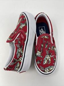 Vans Classic Slip on Shark Skeletons canvas Kids Shoes Size 10.5 NEW