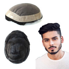 Mens Human Hair Replacement System Fine Mono Toupee Indian Remy Hairpieces #2