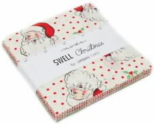 "Swell Christmas Moda Charm Pack 42 100% Cotton 5"" Precut Fabric Quilt Squares"