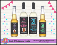 PERSONALISED BIRTHDAY PARTY WINE BOTTLE LABELS DECORATIONS 18th 21st 30 40 50 60