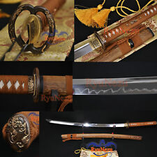 Japanese Sword T10 Clay Tempered Blade Musashi Tsuba UNOKUBI-ZUKURI Katana Sharp