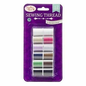 Assorted Colour Sewing Thread 12 Pack 9 Colours 32 Metres Sewing Craft Box NEW