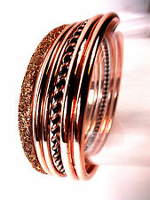 ELEGANT SPARKLING BRONZE / ROSE GOLD PHAROAH STYLE BANGLE SET BRAND NEW  (CL2)