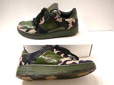 Kicks Sneakers Green Camo Camouflage Shiny Patent Shoes Lion Emblem Sz 9T