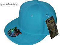 BRAND NEW PLAIN FITTED HATS, TURQUOISE FLAT PEAK CAPS BASEBALL, MENS & LADIES