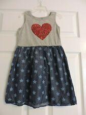 Gap Kids Girl Dress Sparkling Red Heart Stars 100% cotton Sleeveless Small (6-7)