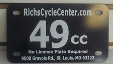 49cc Scooter .050 thick Black Plastic License Plate with white letters