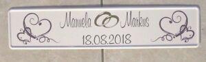 Kfz Kennzeichen Hochzeitsschilder Schnörkel Herzen, Datum, Namen, Eheringe