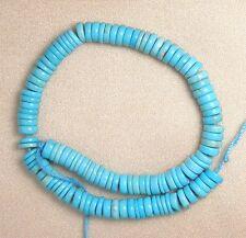 "Sleeping Beauty Turquoise 5mm Heishi Gemstone Beads Blue 6"" Std Jewelry #269"