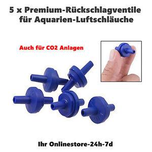 5x Aquarium Rücklaufventil Ventil Luftschlauch Set CO2 Rückschlagventil blau NEU