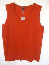 EILEEN FISHER Red-Orange Merino Wool Slvls Tank Top Shell $178 NWT sz PL Pet.L