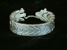 HEAVY Taxco Sterling Silver 970 Antonio Pineda Serpent Scale Puzzle Bracelet