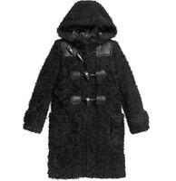COACH Rip And Repair Duffle Coat Mohair Blend w/ Hood Black L XL $1495 NWT