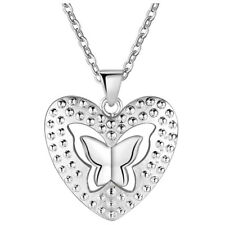 Butterfly Pendant Necklace for Women 925 Sterling Silver Plated Heart Hollow