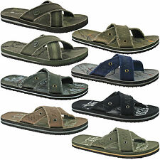MENS DUNLOP TEXTILE FLIP FLOPS SANDALS SIZE UK 6 - 12 BLACK BROWN GREY KHAKI