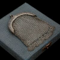 Antique Vintage Nouveau 925 Sterling Silver Mesh Chain Floral Coin Purse 43.2g