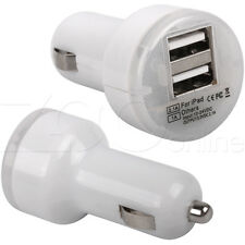 WHITE TWIN USB IN CAR CHARGER ADAPTER FOR HTC ONE X9 / M9s / A9s MOBILE PHONES