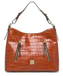 NEW Dooney and Bourke Croc Embossed Leather Hobo Shoulder Bag