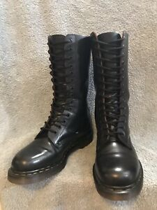DR MARTENS 1914 MADE IN ENGLAND BLACK LEATHER 14 EYE LACE UP BOOTS UK9 EU43