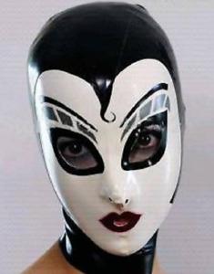 100% Latex  Rubber  Gummi Schwarze Cosplay-Kopfbedeckung xs-xxl