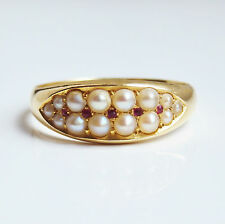 "Antico Periodo edoardiano 18ct Gold Pearl & Ruby RING c1910; misura UK 'N 1/2"""