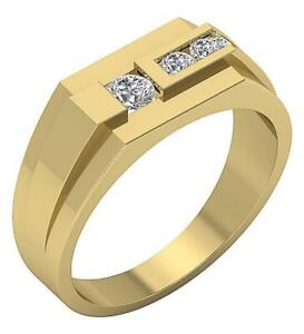 SI1 G 0.50 Ct Mens Solitaire Anniversary Ring Round Cut Diamond 14K Yellow Gold