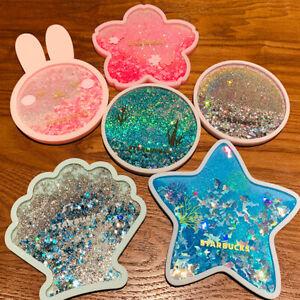 HOT 2020 China Starbucks Romantic Sakura Rainbow Quicksand Water Coaster Heatpad