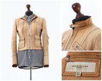 Women's KAREN MILLEN Leather Motorcycle Jacket Beige Size S 4 36