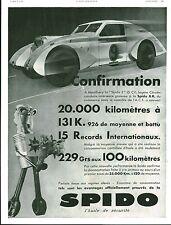 Publicité Ancienne  Huile pour Voiture SPIDO  Confirmation 1933