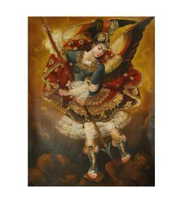 Archangel Michael Original Colonial Cuzco Peru Art Oil Painting On Canvas