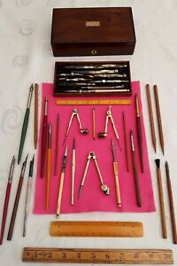 Antique Vintage Engineering & Surveying Drawing Instruments Set ,Ink Pens,Rulers