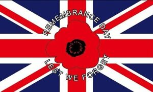 POPPY FLAG 5' x 3' WW1 WW2 Remembrance Day Armed Forces Lest We Forget