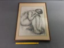 Antico cornice in legno smaltato con disegno di donna nuda francese antico frame