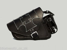 Black Leather Maltese Cross Single Pannier Saddle Bag Harley Davidson Sportster