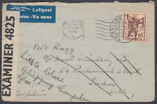 Switzerland Airmail / Censor to London redirect Chipping Campden, Glos; 1941