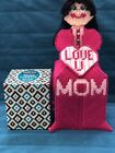 Handmade Needlepoint Plastic Canvas Doll Tissue Box Cover Love you Mom Pink